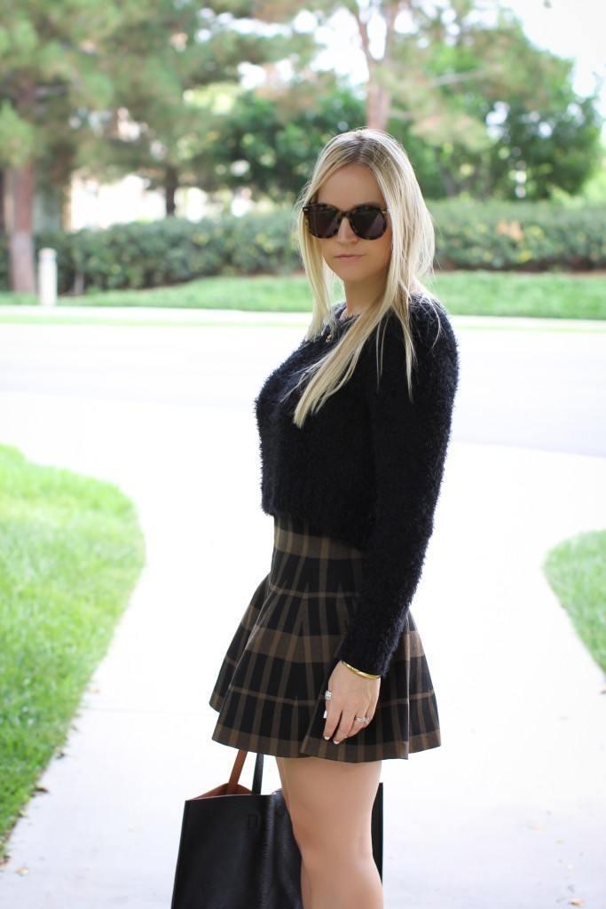 Plaid Flared Skirt